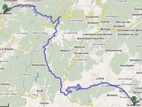 itinéraire du chalet Vosges à Gerardmer en été
