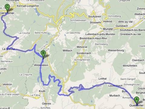 itinéraire pour Gerardmer en hiver