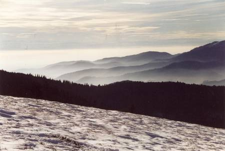 Vue depuis un sommet des Vosges en hiver